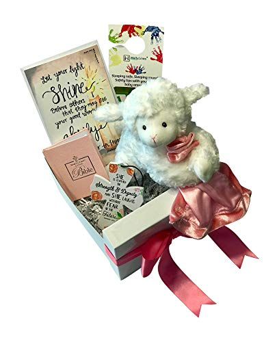 - Baby Christening Baptism Gift Set Includes Gund Lamb, Crib Cross, and Baby Bible with Box, Bow, and Card Complete Bundle