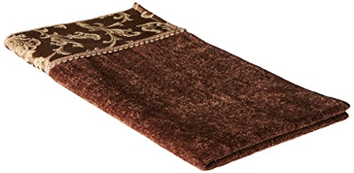 Avanti Linens Damask Fringe Wash Cloth, Mocha