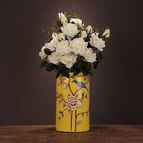 Mountain head クリエイティブ現代中国セラミック花瓶装飾シンプルな花と鳥の缶塗装リビングルームテレビワインキャビネットポーチ家具 Mountain head (Size : A) B07QK5R8WL  A