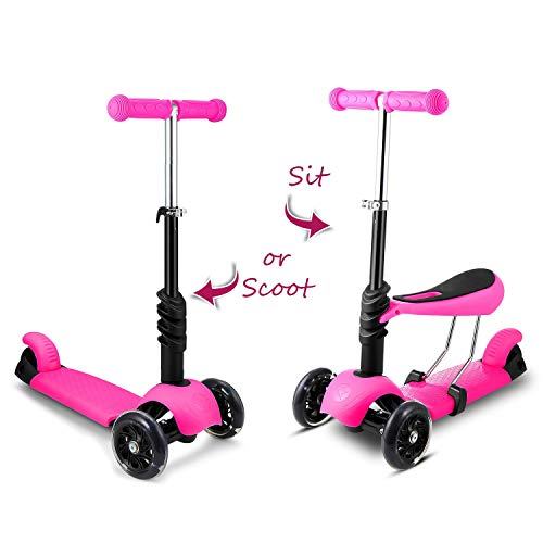 (Hikole Toddlers Kids Scooter with Removable Seat | 3-in-1 Mini 3 Wheels Princess Adjustable Folding Kick Push Scooter, Gift for Children Boys Girls Age 2-6)