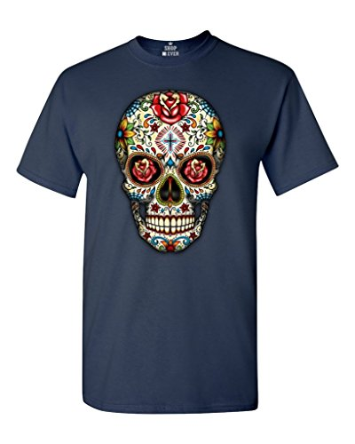 Sugar Skull Roses T-shirt Day of Dead Shirts #16553 Medium Navy Blue -