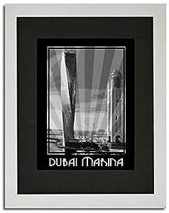 Dubai Marina- Black And White F02-m (a4) - Framed