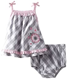 Little Me Baby-Girls Newborn Checkered Floral Woven Sunsuit, Grey, 9 Months