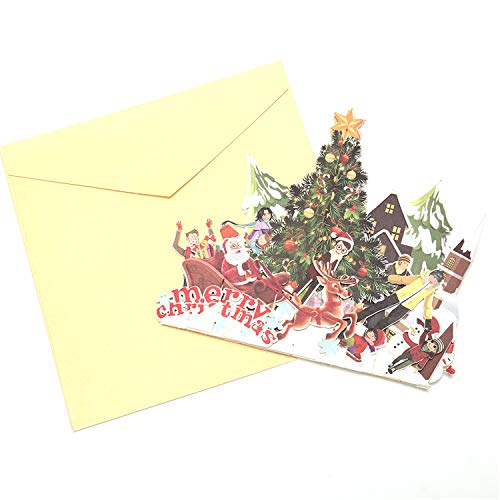 Yakke XMAS Decoration 3D Pop Up Cards Merry Christmas Origami Paper Laser Cut Postcards Gift Greeting Cards Handmade Blank Colo