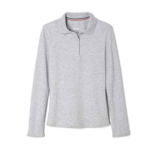 French Toast Big Girls' Long Sleeve Interlock Polo with Picot Collar, Grey, X-Large/14/16