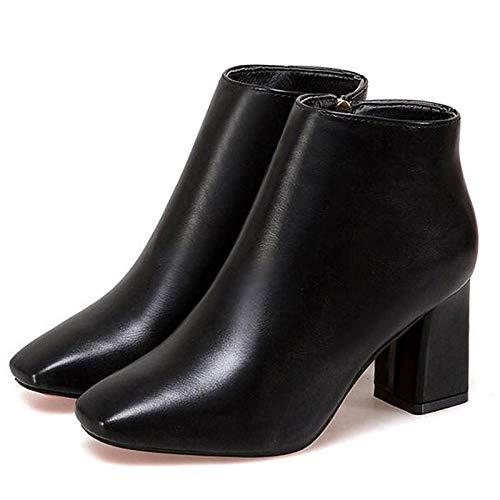 Black US8   EU39   UK6   CN39 Black US8   EU39   UK6   CN39 Women's Bootie PU Fall Boots Chunky Heel Square Toe Black Light Brown