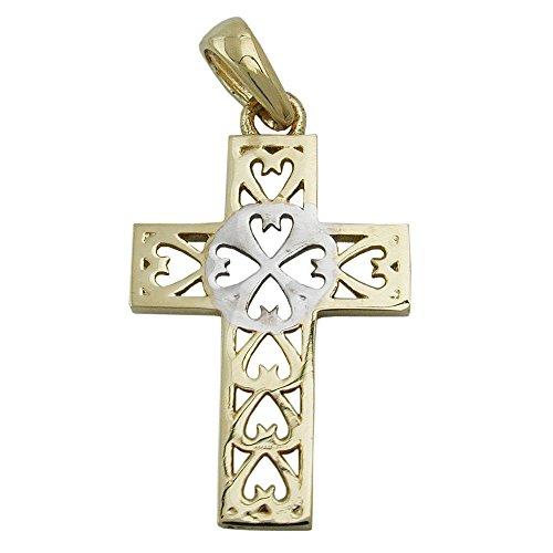 Pendentif, croix, bicolore, or 9carats