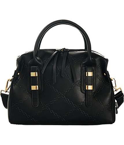 - Chain-Links Black Shoulder-Convertible Extra-Wide Satchel Bag