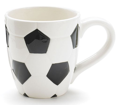 Ceramic Soccer Ball Design Sports Coffee Tea Mug with Handle Great Gift Idea for Coaches, Soccer Fans, Soccer Players - Black/White, 15 Oz