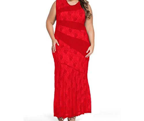 DH-MS Dress Women's Stylish Lace Splice Plus Size Mermaid Prom Dress Red