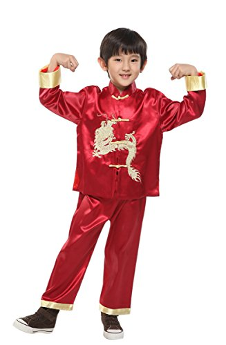 Suimiki Traditional Chinese Dragon Kung Fu Outfit Tang Suit for Boys Wine Red 10