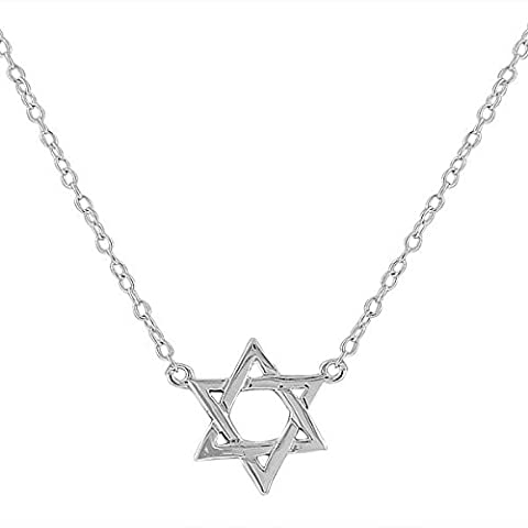 925 Sterling Silver Classic Jewish Star of David Small Pendant Necklace with Chain (Star Of David Silver Pendant)