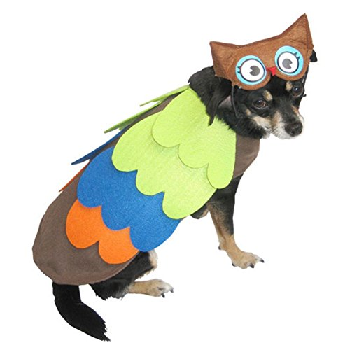 Owl Dog Costume Colorful Bird Pet Outfit with Hat (Dog Owl Costumes)