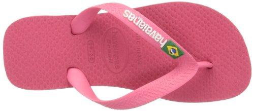 Havaianas Brasil Logo Barna Neon Rosa Gummi Spedbarn Flip Flops Neon Rosa