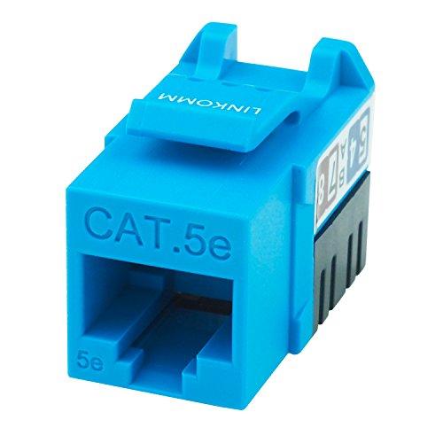 LINKOMM (10 Pack) RJ45 Cat5e Slim Profile Keystone Jack, Blue -