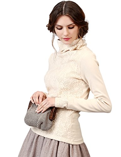 Artka Women's Lace Embroidered Turtleneck Long Sleeve Pullover Sweater Top White Medium