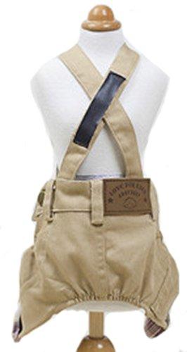 MaruPet Dog Denim Susperder Overalls Jumpsuit Jeans Two-Leg Pants Khaki S ()