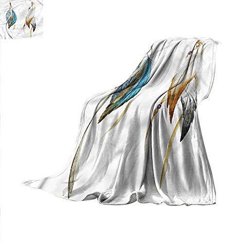 Ethnic Super Soft Lightweight Blanket Spiritual Ceremony Feathers Oversized Travel Throw Cover Blanket 50