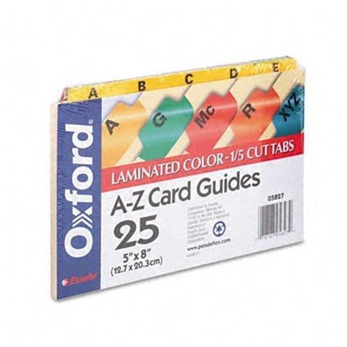 Tab Az Manila Card Guides - Oxford 05827 Laminated Tab Index Card Guides, Alpha, 1/5 Tab, Manila, 5 x 8 (Set of 25)