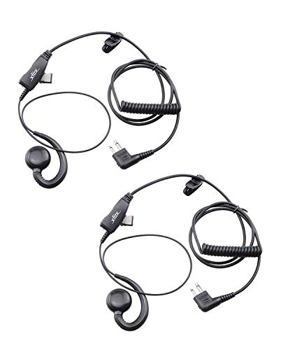 (XFox Swivel Earpiece with Microphone and PTT - Replaces RLN6423 HKLN4604 HKLN4604A Headset For Motorola Radio GP88S GP300 GP68 GP2000 GP88 GP3188 CP040 CP1200 A8 A6 A10 A12 (2Pack))