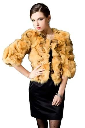 Queenshiny Women's 100% Real Genuine Fox Fur Coat Jacket With Round Collar-Yellow-S(4-6)
