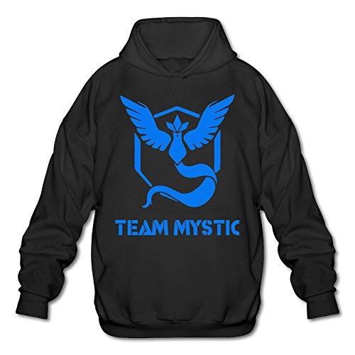 [Wesley Pokemon Go TEAM MYSTIC Men's Sport Fleece Sweatshirt Black S] (Lone Ranger Costume Shirt)
