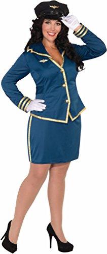 Forum Novelties Women's Plus-Size Cockpit Cutie Pilot Costume, Blue/Gold, Plus (Pilot Jacket Airline)