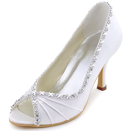 Ivory Toe EP2094 Bridal Wedding High Peep Ruched Heel Rhinestones ElegantPark Shoes gqB1RxwPw
