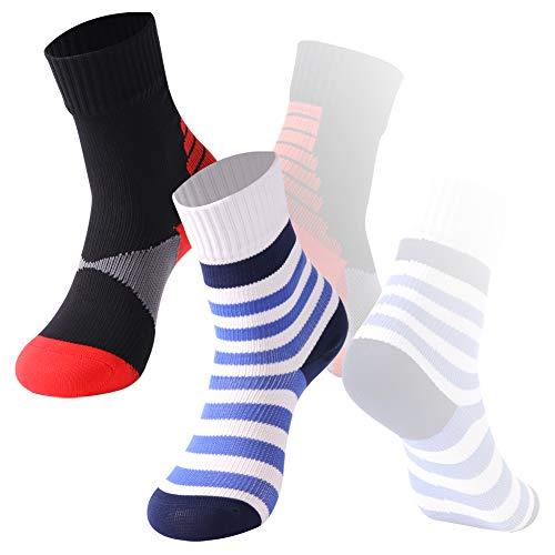 Girls Waterproof Hiking Socks, RANDY SUN Outdoor Waterproof Sports Ski Snowbaord Mud Run Socks 2 Pair Blue&Red