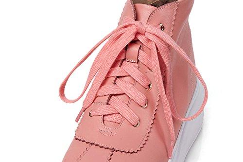 Schuhe WSXY KJJDE Jane Plateau Q1806 Mary Creepers Pink Plateauschuhe Keilabsatz Zehe Runde Damen Schuhe 36 rxnPtn