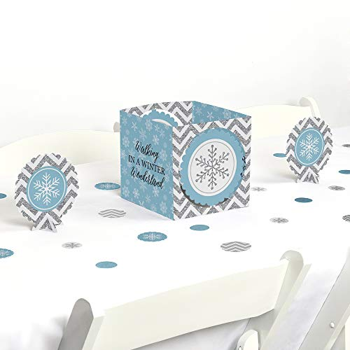 Big Dot of Happiness Winter Wonderland - Snowflake Holiday Party & Winter Wedding Centerpiece & Table Decoration Kit -