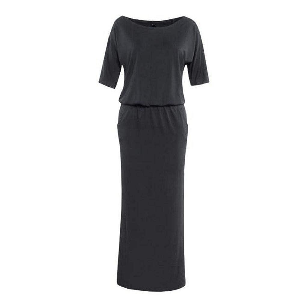 a22b07b343 VIASA Women Summer Long Side open Black Dress with Pocket at Amazon Women's  Clothing store:
