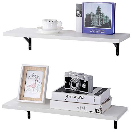 SUPERJARE Wall Mounted Floating Shelves, Set of 2, Display Ledge, Storage Rack for Room/Kitchen/Office - White (Bathroom White Floating Shelves)