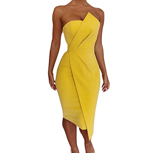 """Sinfu Sexy Women Fashion Off Shoulder Party Dress Front Asymmetric Dress Evening Gown (S:Bust:82cm/32.3"""", Yellow) from Sinfu"""