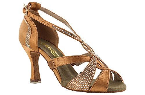 scarpa da ballo con fasce incrociate e cristal strass boreali tacco 7,5 cm