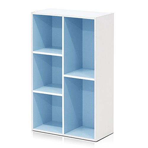 Furinno 5-Cube Reversible Open Shelf, White/Light Blue 11069WH/LBL (Blue Shelf)