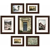 Gallery Solutions 7-Piece Create-A-Gallery Snapshot Frame Set, Walnut