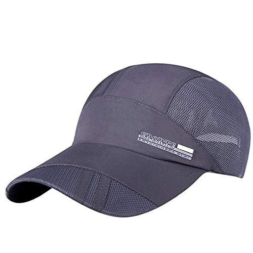 Men Women Mesh Adjustable Baseball Cap Quick-Dry Collapsible Sun Hat Hip Hop Cap Visor Hats Workouts Activities Grey