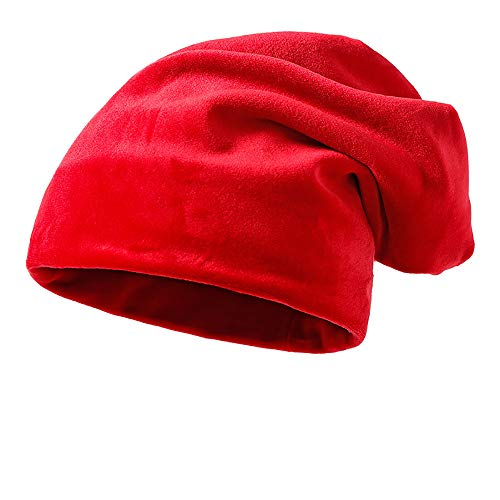 Clearance DEATU Solid Color Hat Unisex Warm Knit Hat Thick Velvet Wrap Cap Men Women Hats Special Promotion(Red,One Size)