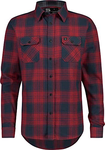 Crimson Plaid - Flannel Shirt for Men - Dry Fit Long Sleeve Button Down - Moisture Wicking and Stretch Fabric Plaid Shirts Crimson Red