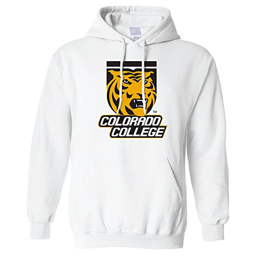 Campus Merchandise NCAA Colorado College Tigers Long Sleeve Hoodie, Small, White