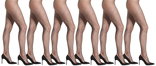 Womens Fishnet Pantyhose, 6 Pack, Comfortable Nylon Stockings, Sexy Casual Ladies Mesh Net (Black Fishnet, One Size (5'-5'9