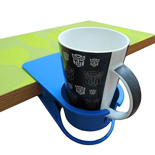 YOY Drink Cup Holder Clip - Home Office Table Desk Side Huge Clip Water Drink Beverage Soda Coffee Mug Holder Cup Saucer Clip Design,Blue