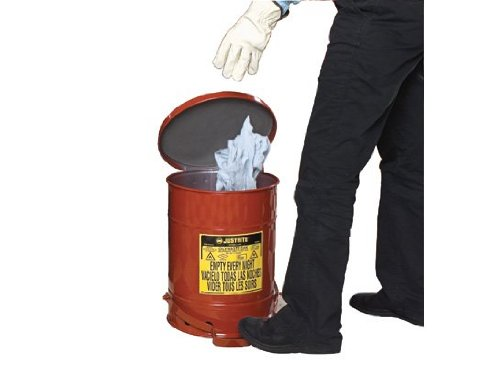 Justrite 09508 SoundGuard Galvanized Steel Oily Waste Safety Can with Foot Operated Cover, 14 Gallon Capacity, Red ()