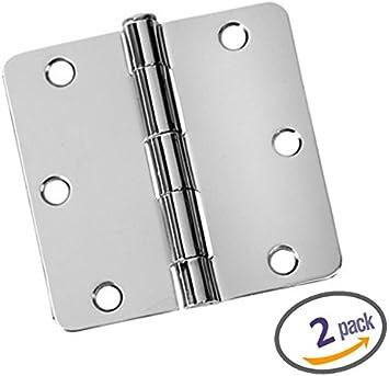 Polished Chrome Dynasty Hardware 3-1//2 Door Hinges 5//8 Radius Corner 12 Pack