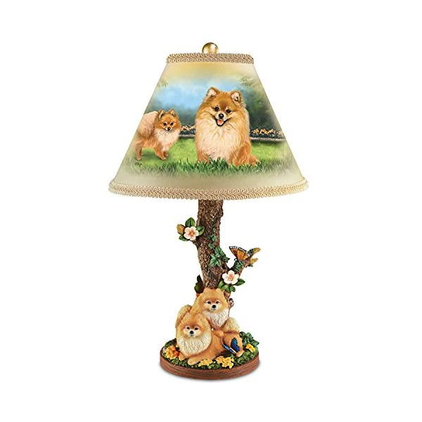 Pomeranian Table Lamp with Linda Picken Art and Sculpted Base by The Bradford Exchange 1