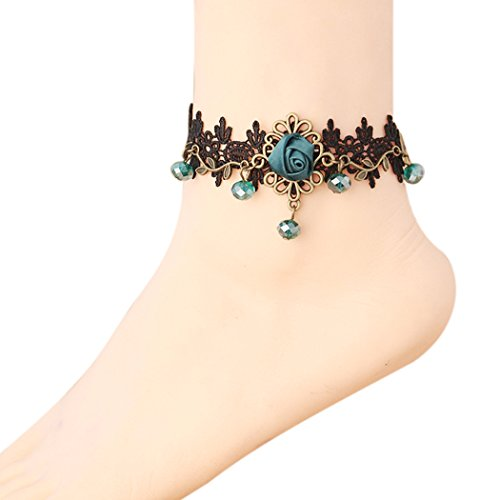 Time Pawnshop Fashion Black Lace Rose Elegant Sexy Anklet