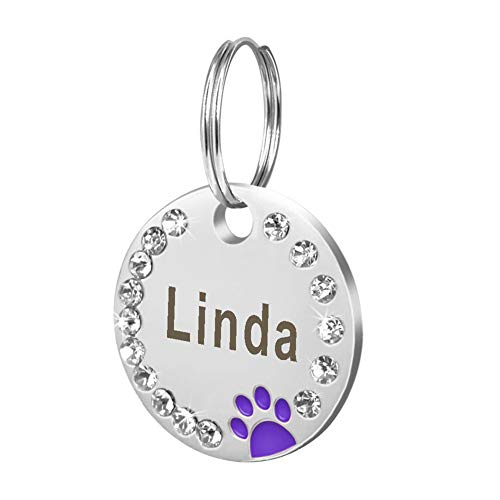 POEwjCCk Pet ID Tag Pet Dog Cat Puppy Engraved ID 25mm Metal Blank Dog Tag Paw Rhinestone Pet Cat ID Name Engraved Key Ring Chain Decor Charm Personalized Purple