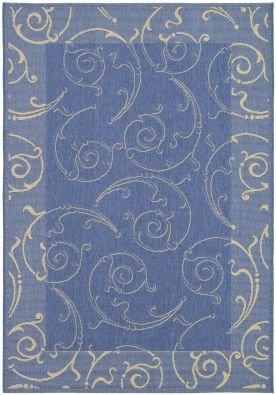 - Safavieh Transitional Rug - Courtyard Polypropylene -Blue/Natural Blue/Natural/Transitional/6'7