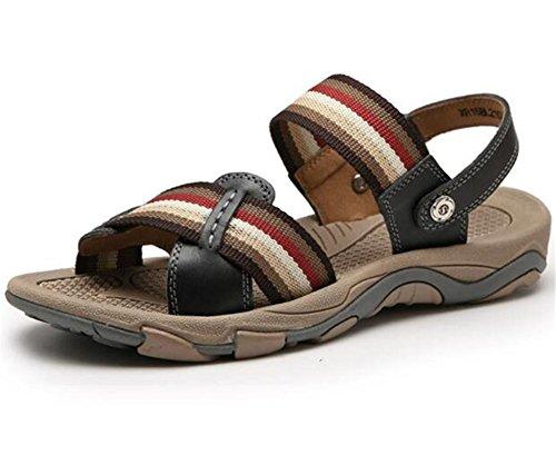 Sandalias Zapatillas Punta 38 Hombre Tamaño Zapatos Exterior Casuales Black Playa Abierta de eu42 Genuino Verano NSLXIE EU39 Chanclas a Black Antideslizante 43 Cuero Correa de UntOx